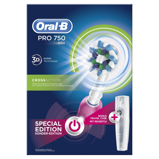 DENTAL ORAL-B PRO750 CROSS ACTION PINK