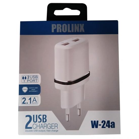 CARGADOR PROLINX W24-A DUAL USB PARED 220V